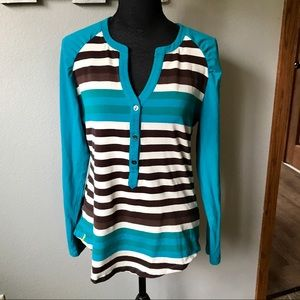 〰️LOLE Teal/Brown/cream striped long sleeve top